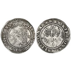 Seville, Spain, 2 reales, Ferdinand-Isabel, assayer eight-point star on reverse, mintmark S to left