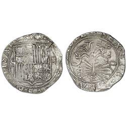 Seville, Spain, 2 reales, Ferdinand-Isabel, assayer Gothic D on reverse, mintmark S to left of shiel