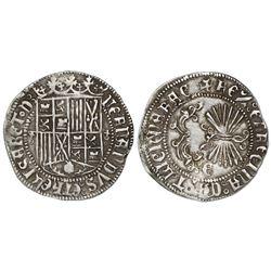 Granada, Spain, 1 real, Ferdinand-Isabel, cross-topped o flanking shield, mintmark Gothic G on rever