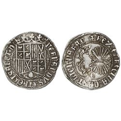 Granada, Spain, 1 real, Ferdinand-Isabel, cross-topped o flanking shield, mintmark Gothic G on rever