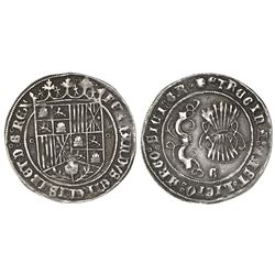 Granada, Spain, 1 real, Ferdinand-Isabel, assayer o flanking shield, mintmark Gothic G on reverse.