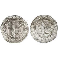 Granada, Spain, 1 real, Ferdinand-Isabel, assayer three-quarters Maltese cross flanking shield, mint