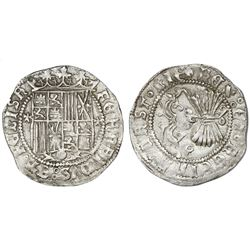 Granada, Spain, 1 real, Ferdinand-Isabel, assayer three-quarters Maltese cross flanking shield, mint