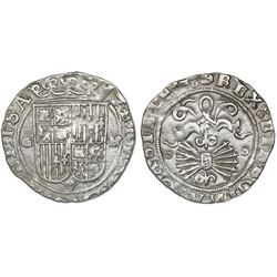 Granada, Spain, 1 real, Ferdinand-Isabel, assayer R to right, mintmark G to left of shield.