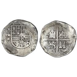 Seville, Spain, cob 8 reales, (15)91/0 date to right, assayer H below mintmark S and denomination o-