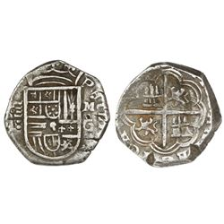 Granada, Spain, cob 4 reales, Philip II, assayer M above mintmark G to right (1597), OMNIVM legend,