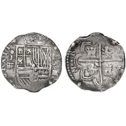 Segovia, Spain, cob 4 reales, (15)93 date above denomination iiii to right, assayer o-I above aquedu