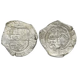 Toledo, Spain, cob 4 reales, 1593 date to right, assayer C between mintmark oT and denomination 4 to