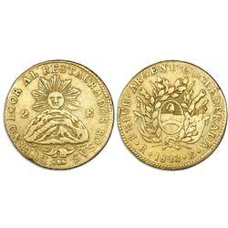 La Rioja, Argentina, gold 2 escudos, 1843RB, Rosas, NGC XF details / rim filing.
