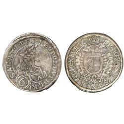 Austria (Holy Roman Empire), 6 kreuzer, Leopold I, 1671-GS, St. Veit mint, NGC XF 40, finest and onl