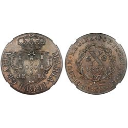 Terceira Island, Azores (under Portugal), copper X reis, Maria II, 1830, NGC AU 58 BN.
