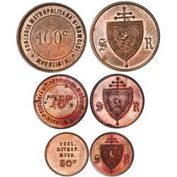Denomination set of three copper Mechelen, Belgium, undated church tokens (1888), St. Rumbold's Cath