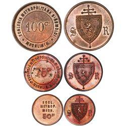 Denomination set of three copper Mechelen, Belgium, undated church tokens (1888), St. Rumbold's Cath