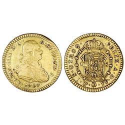 Potosi, Bolivia, bust gold 1 escudo, Charles IV, 1797PP.