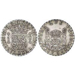 Potosi, Bolivia, pillar 8 reales, Charles III, 1769JR, regular 9 over fancy 9, no dot after king's n