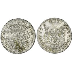 Potosi, Bolivia, pillar 8 reales, Charles III, 1770JR, dot after king's name.