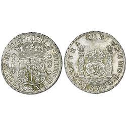 Potosi, Bolivia, pillar 8 reales, Charles III, 1770JR, dot after king's name.
