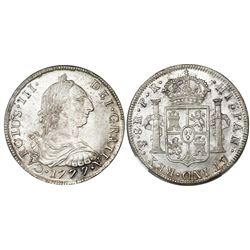 Potosi, Bolivia, bust 8 reales, Charles III, 1777PR, NGC MS 64, finest known in NGC census.