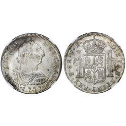 Potosi, Bolivia, bust 8 reales, Charles III, 1777PR, NGC MS 61.