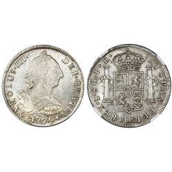 Potosi, Bolivia, bust 8 reales, Charles III, 1779PR, NGC MS 64.