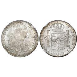 Potosi, Bolivia, bust 8 reales, Charles IV, 1808PJ (struck 1808-13), NGC MS 63.