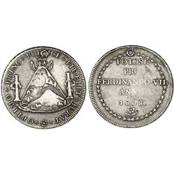 Potosi, Bolivia, 8 reales-sized silver proclamation medal, Ferdinand VII, 1808.