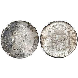 Potosi, Bolivia, bust 8 reales, Ferdinand VII, 1819PJ, NGC MS 63.