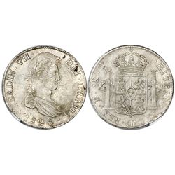 Potosi, Bolivia, bust 8 reales, Ferdinand VII, 1825J, NGC AU 55.