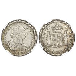 Potosi, Bolivia, bust 2 reales, Charles III, 1773JR, with dot after king's name, unlisted variety wi