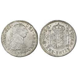 Potosi, Bolivia, bust 2 reales, Charles III, 1774JR.
