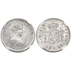 Potosi, Bolivia, bust 1/2 real, Ferdinand VII, 1825JL, NGC MS 64.