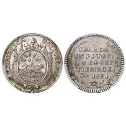 Potosi, Bolivia, 1 sol, 1831, Republica Boliviana / Constitution, PCGS MS62, ex-Derman.
