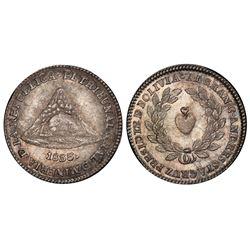 Potosi, Bolivia, 1 sol, 1833, Santa Cruz / mining tribunal, PCGS MS64.