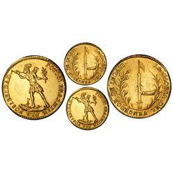 Potosi, Bolivia, gold 2 scudos, (1841), Ballivian / native / Ingavi, rare, PCGS AU58.