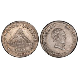 Potosi, Bolivia, 1 sol, 1842, Ballivian / Ingavi, refiners of Potosi, PCGS AU58.