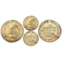 Oruro, Bolivia, 1 sol, 1849, Belzu, PCGS AU details / tooled, gold plated.