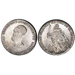 Potosi, Bolivia, 4 soles, 1850, Belzu / Hercules, PCGS AU53.