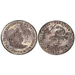Potosi, Bolivia, 2 soles, 1851, Belzu / criminal, PCGS AU55.