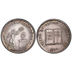 Potosi, Bolivia, 1 sol, 1851, Belzu / Constitution, medal axis, PCGS AU58.