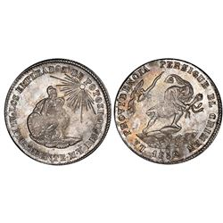 Potosi, Bolivia, 2 soles, 1852/1, Belzu / criminal, PCGS MS63.