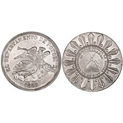 Potosi, Bolivia, 8 soles, 1852, Belzu / Cochabamba / moth, PCGS AU58.