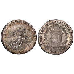 Potosi, Bolivia, 2 soles, 1852, Belzu / angel / temple, PCGS AU55.