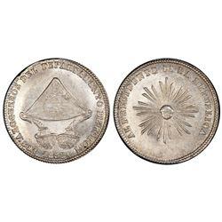Potosi, Bolivia, 1 sol, 1852, Belzu / refiners / Bacchus sunface, PCGS MS64.