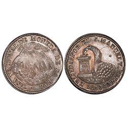La Paz, Bolivia, 2 soles, 1853, Belzu / mountains / cornucopia, PCGS MS64.
