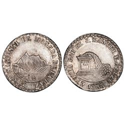 La Paz, Bolivia, 2 soles, 1853, Belzu / mountains / cornucopia, PCGS MS62.