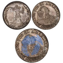 La Paz, Bolivia, 2 soles, 1853, Belzu / Potosi / native, struck over a 1/5 boliviano of 1865, PCGS M