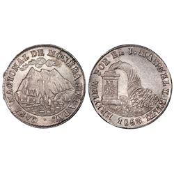 La Paz, Bolivia, 1 sol, 1853, Belzu / mountains / cornucopia, PCGS MS65.