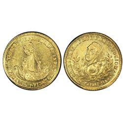 Potosi, Bolivia, gold 1 scudo, 1854, Belzu, PCGS MS62.