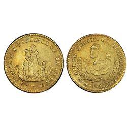 Potosi, Bolivia, gold 1/2 scudo, 1854, Belzu, PCGS MS61.