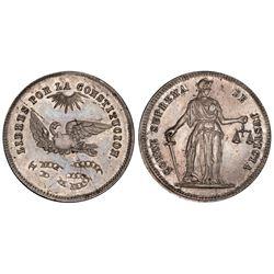 La Paz (?), Bolivia, 4 soles, (ca. 1854), condor / Constitution / Supreme Court, PCGS AU58.
